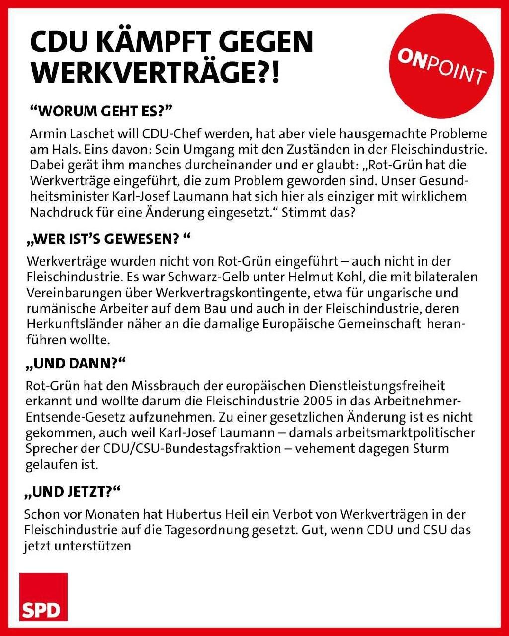 CDU kämpft gegen Werkverträge